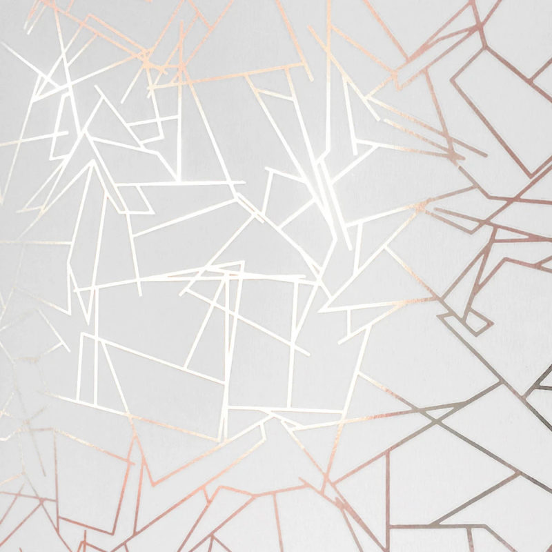 Angles copper rose / white wallpaper