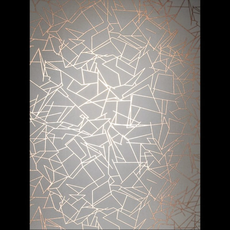 Copper and grey wallpaper, Angles copper rose zinc grey metallic wallpaper