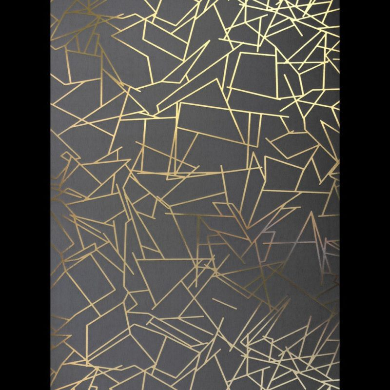 Angles gold and dark grey metallic wallpaper