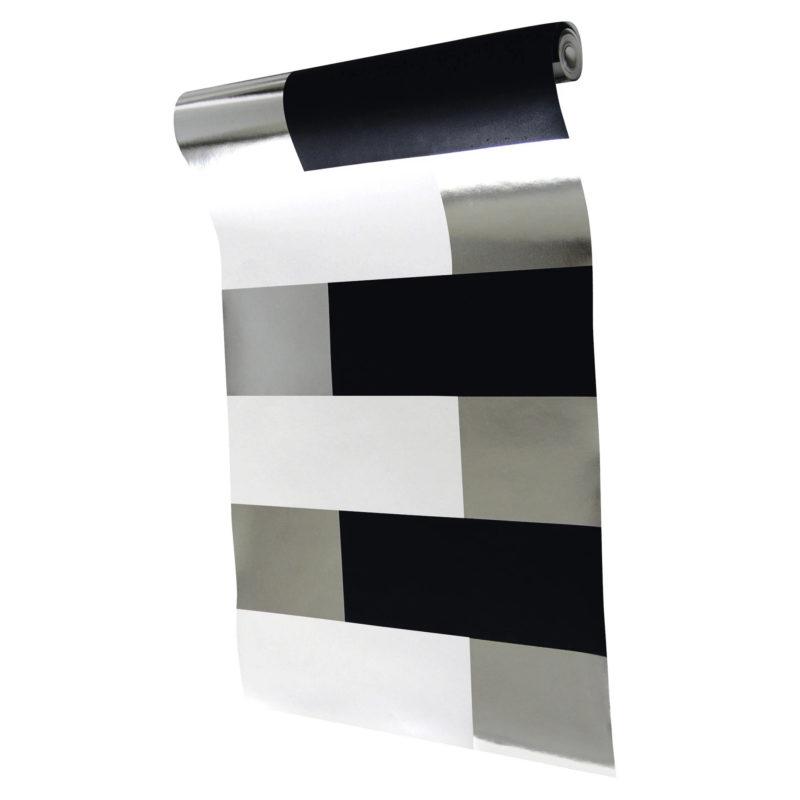 Block black white silver wallpaper
