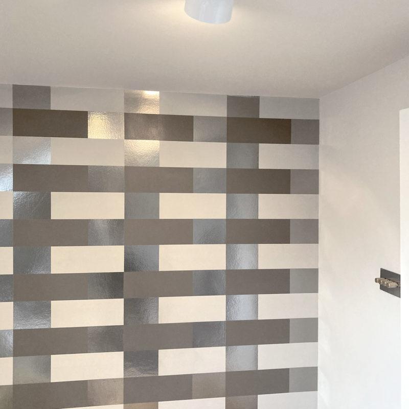 Block bronze pewter limestone wallpaper by Erica Wakerly