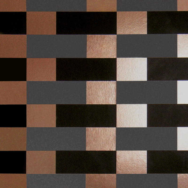 Block copper burnish / grey / black wallpaper