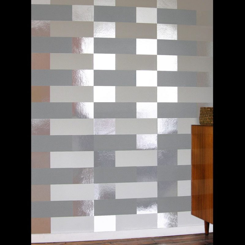 Grey white silver wallpaper. Block grey white silver wallpaper