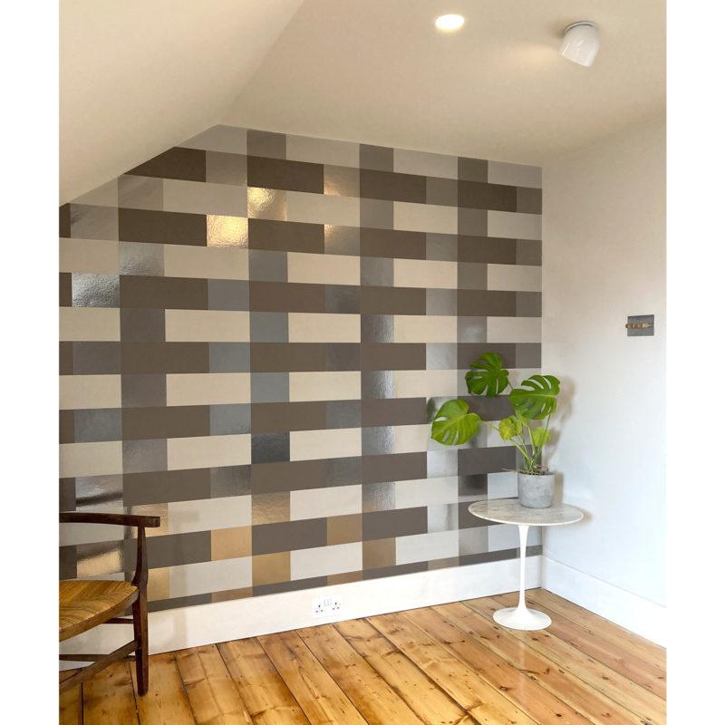 Block bronze limestone cocoa brown wallpaper