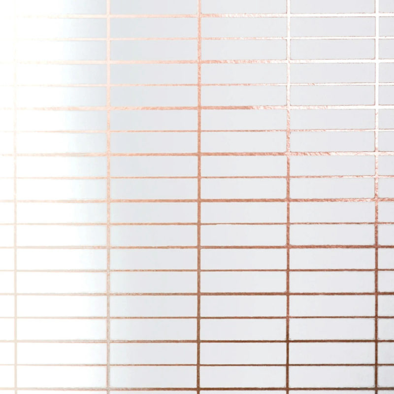 Grid copper rose white wallpaper