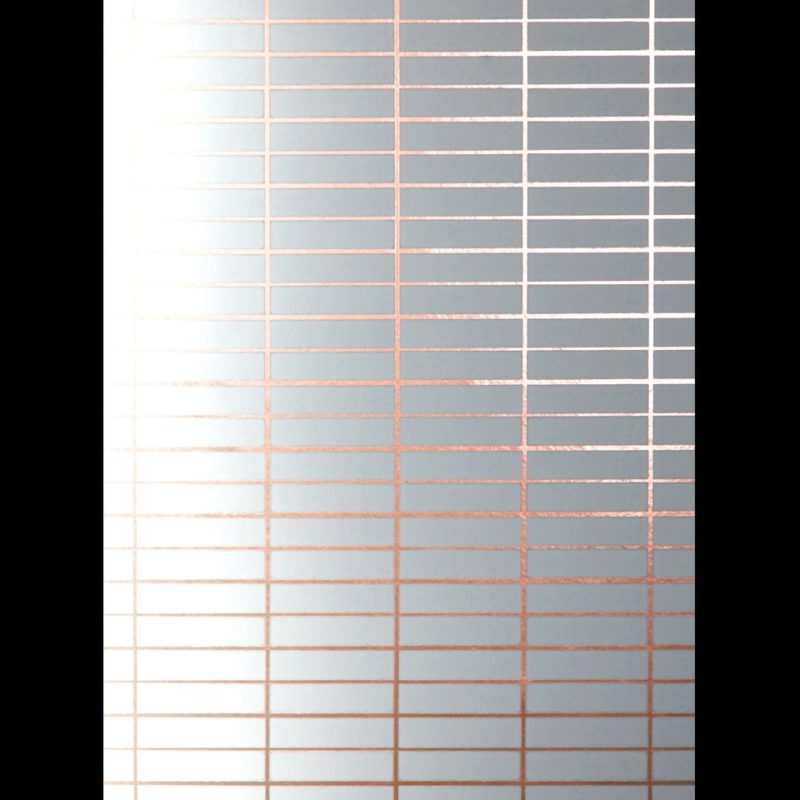 Grid wallpaper copper rose white