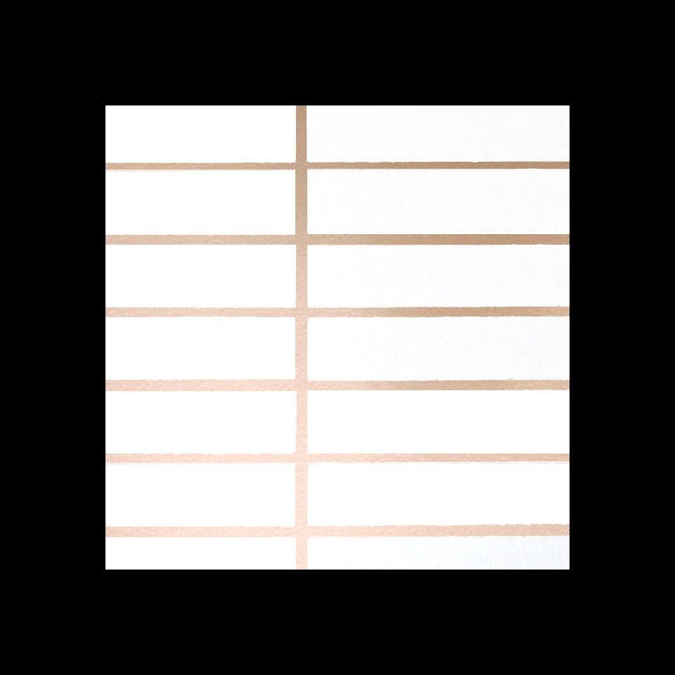Grid Wallpaper Copper Rose White