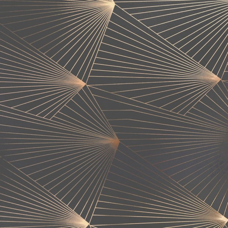 Fan copper and grey dark metallic wallpaper