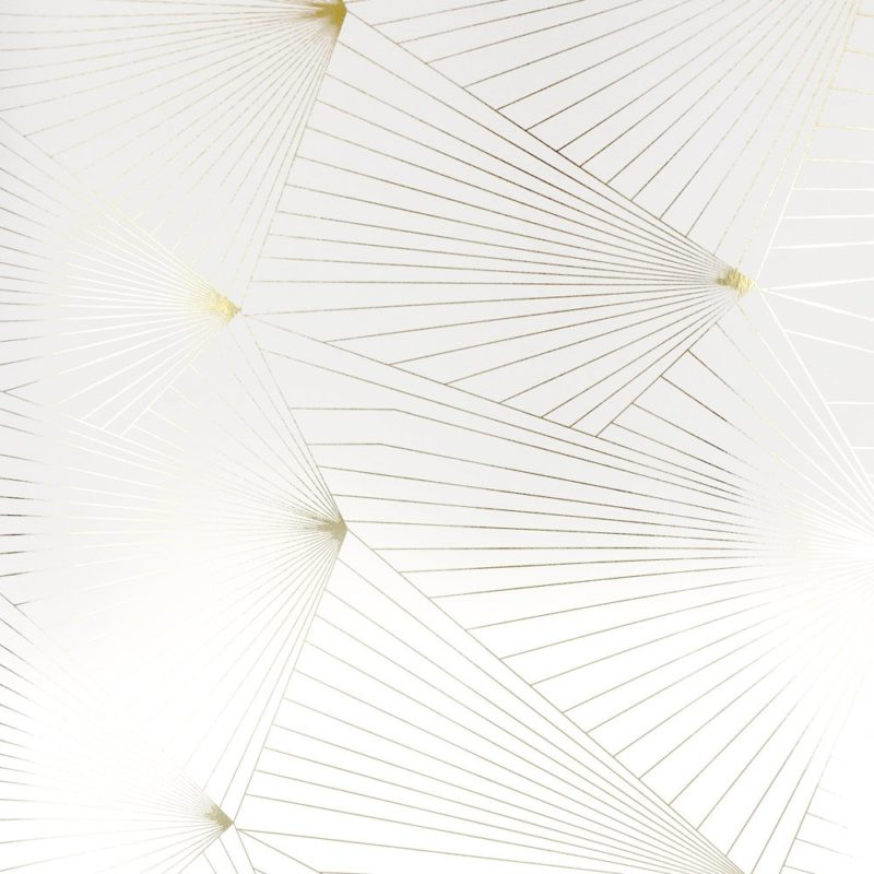 Metallic wallpaper | Geometric wallpaper | Fan gold and white wallpaper