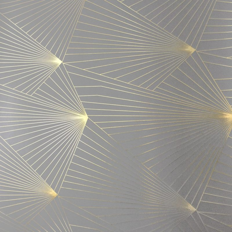 Fan gold zinc grey wallpaper | Metallic wallpaper | Geometric wallpaper