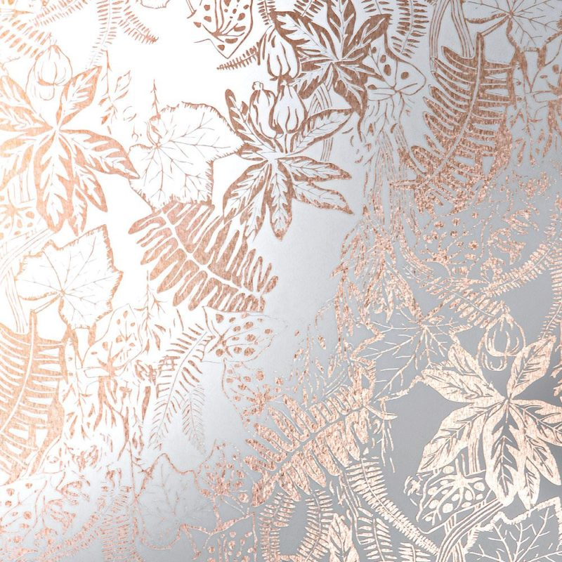 Metallic floral wallpaper | Hothouse copper white wallpaper
