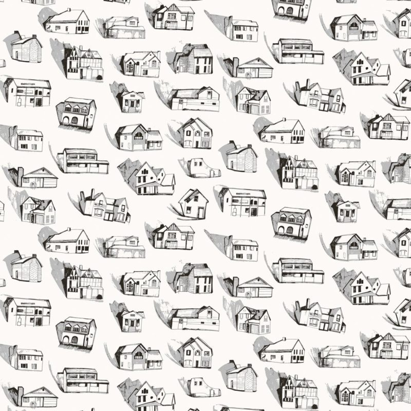 Houses wallpaper black cream