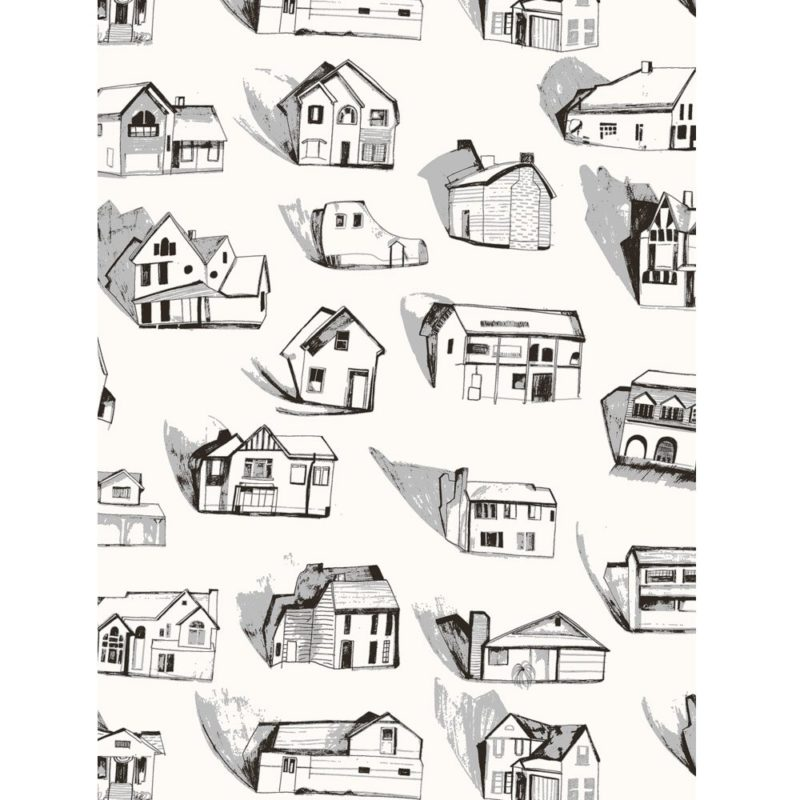 Houses wallpaper black cream sample