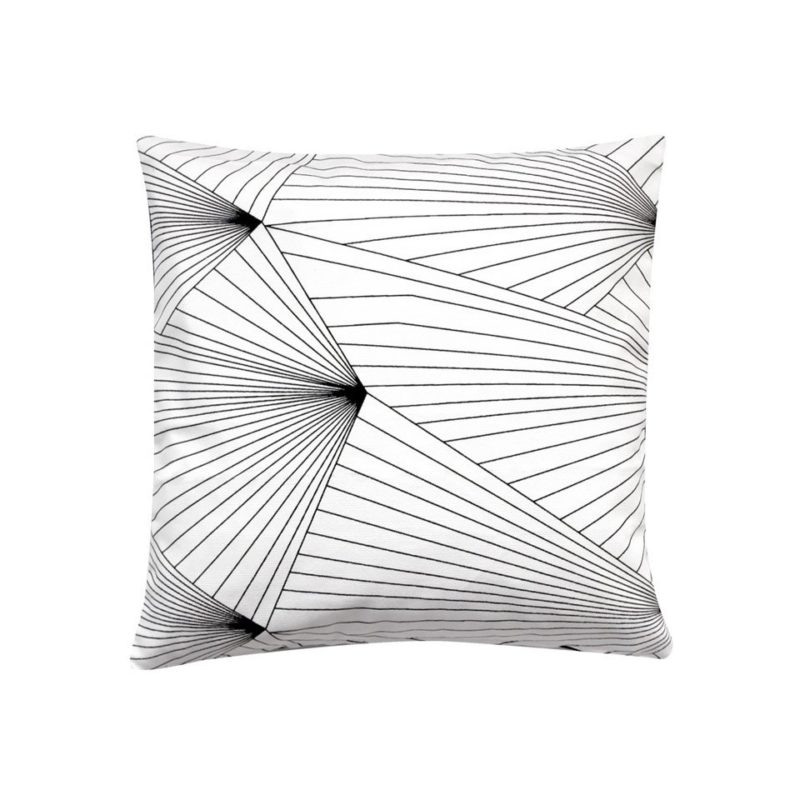 Fan fabric black white cushion