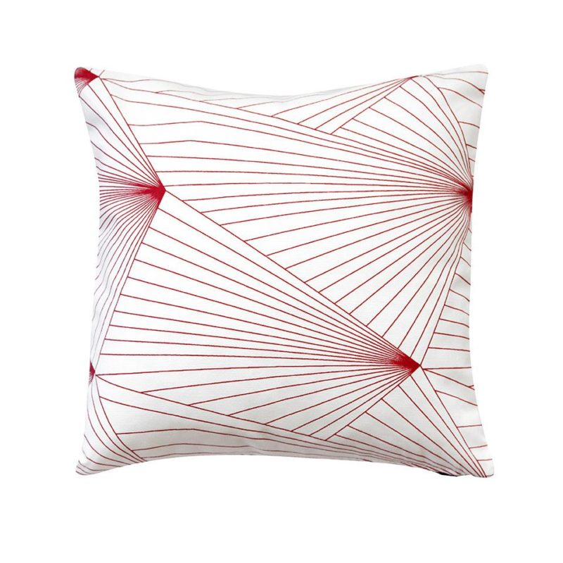 Fan red and white fabric cushion