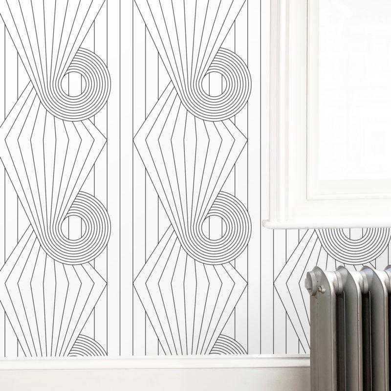 Spiral black white wallpaper