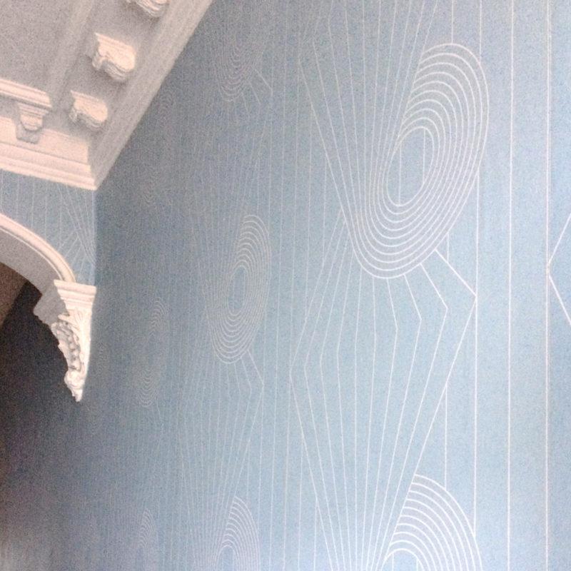 Spiral white blue wallpaper