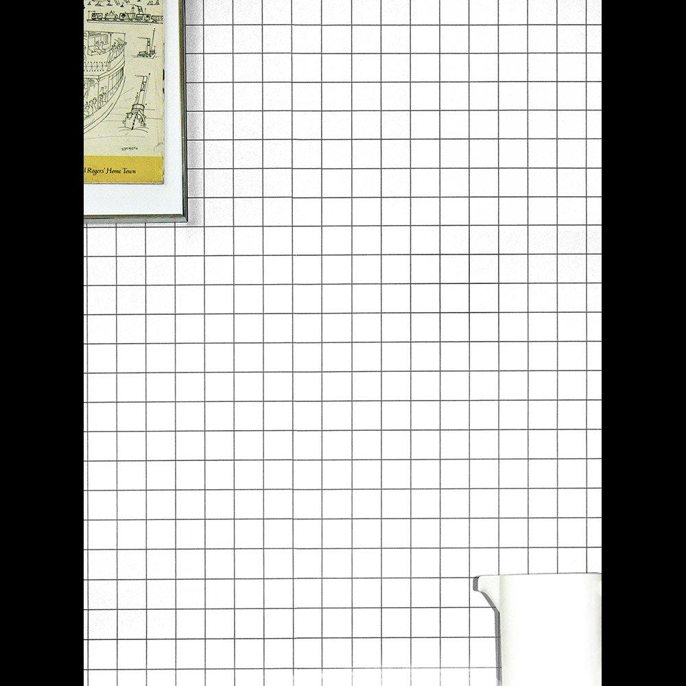 Black White Squares Wallpaper Modern Grid Pattern Erica Wakerly
