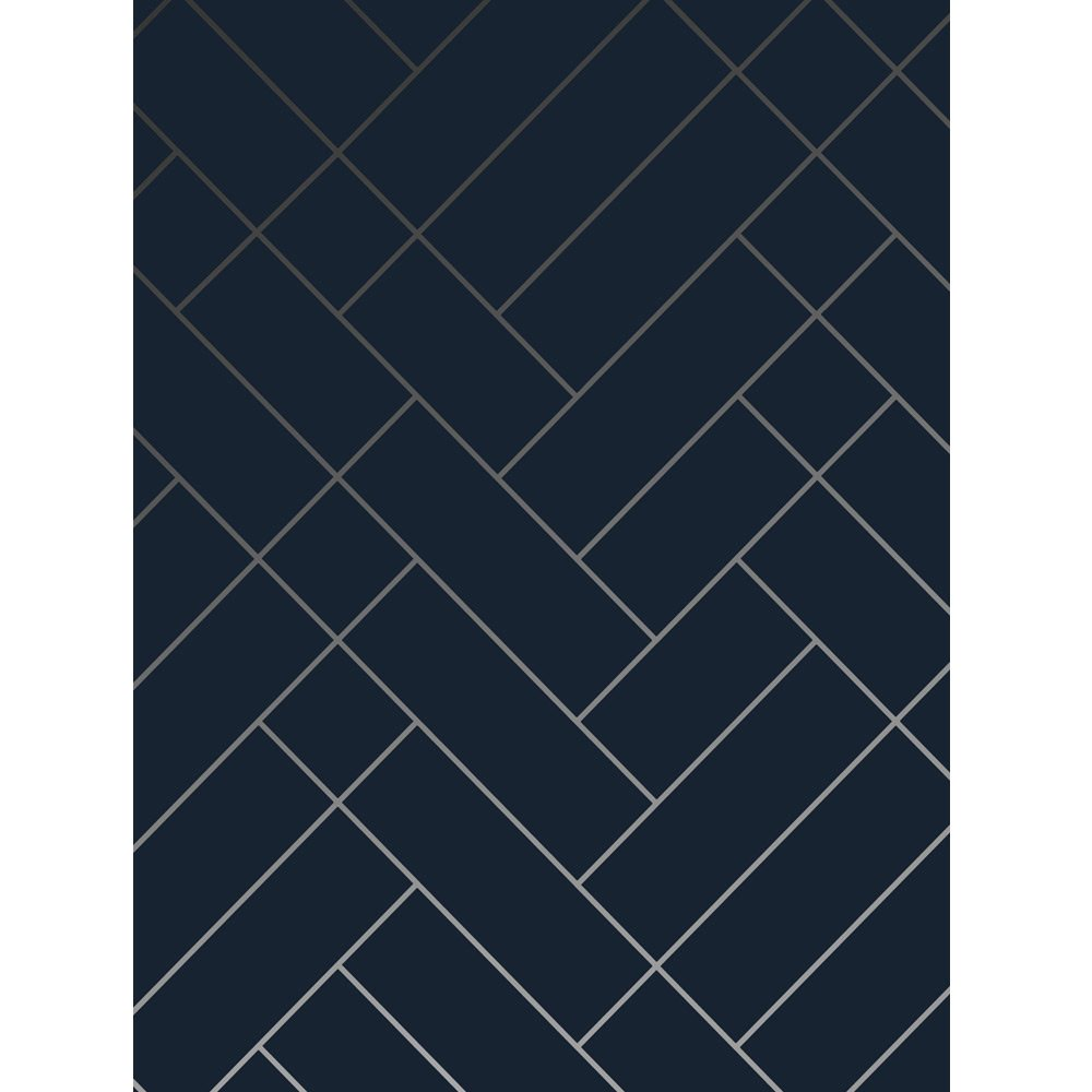 Tapet Cafe Tile Navy Blue And Silver Wallpaper Sample