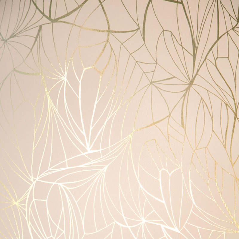 Leaf gold / nude pink wallpaper
