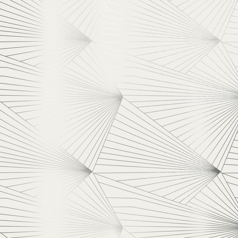 Fan pewter / white stone wallpaper