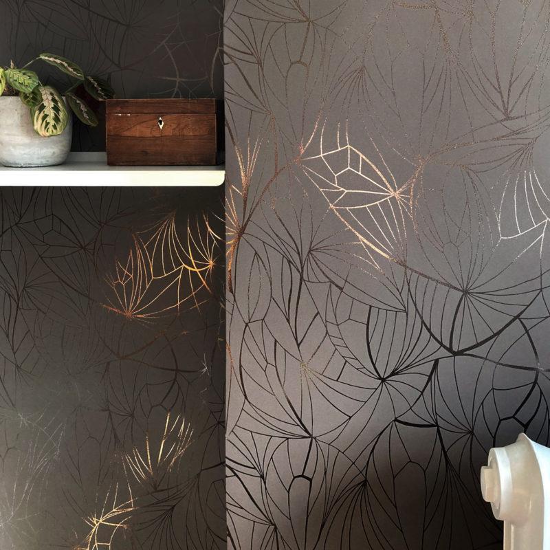 Leaf bronze cocoa brown wallpaper