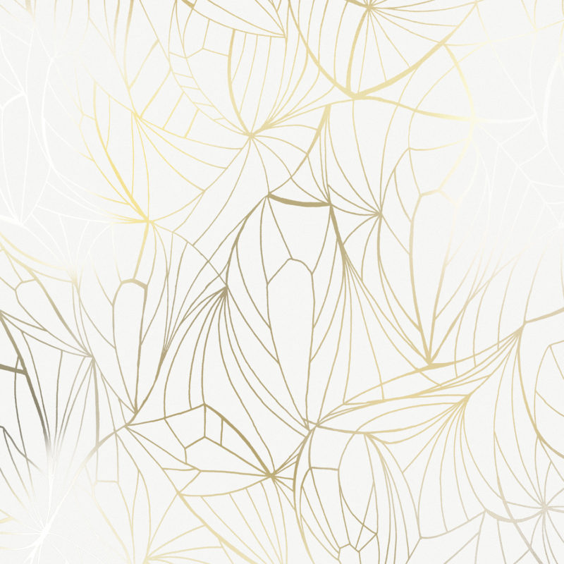 Leaf gold white wallpaper