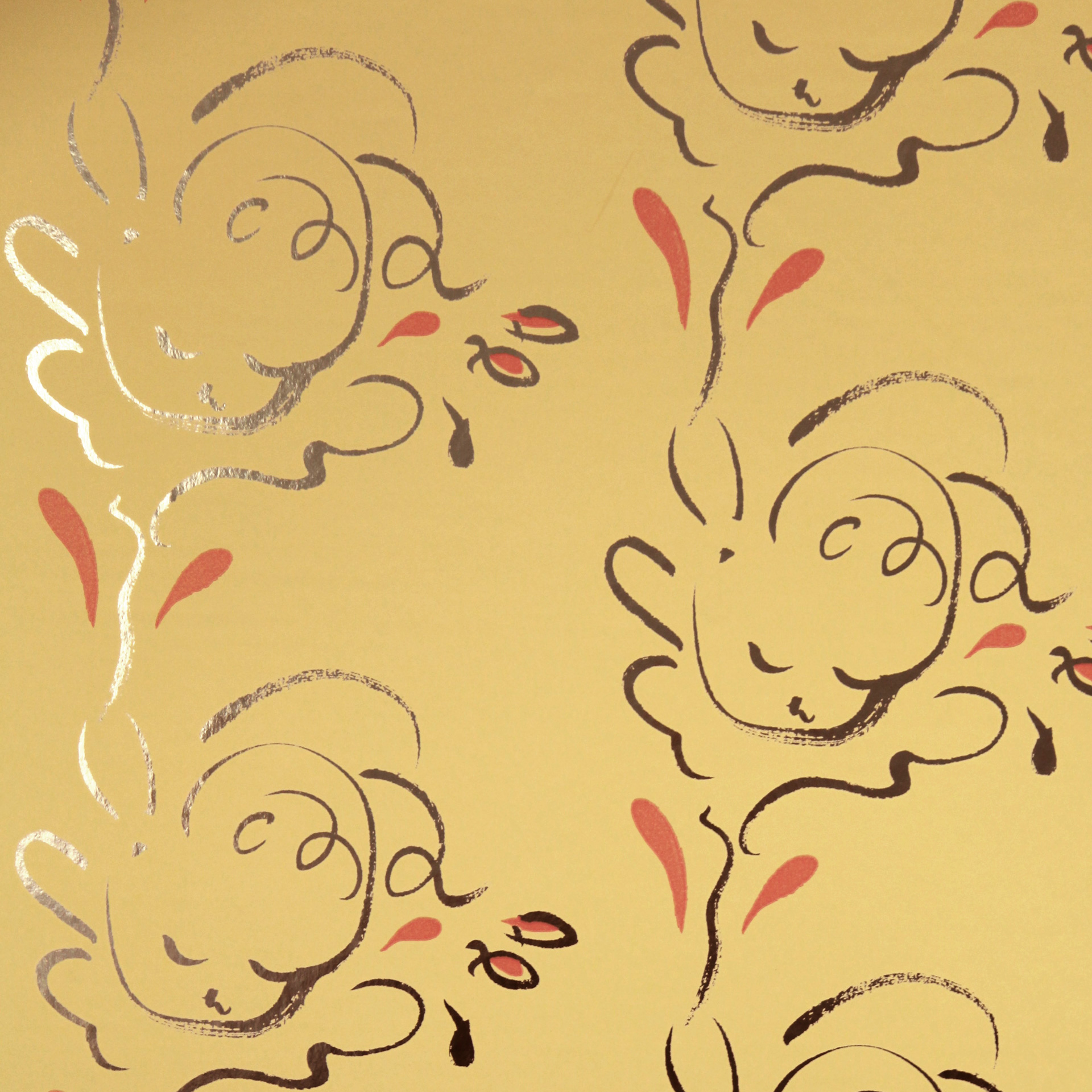 Seraph gold / pavilion yellow wallpaper by Polly Dunbar Decoration